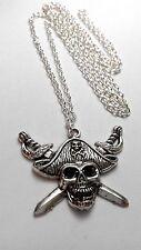 Pirati di Caraibi Teschio Ciondolo Argento Tibetano,Lungo 76.2cm