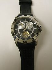 RELIC BY FOSSIL MEN'S ZR15537 AUTOMATIC BLACK SILICONE MOON PHASE WATCH-PREOWN