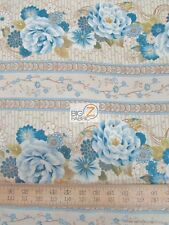 "MEMORIES OF OSAKA BEIGE/BLUE BY SOUTH SEA IMPORTS 100% COTTON FABRIC 45"" FH-1320"