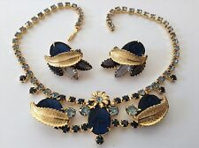 VINTAGE JULIANA LIGHT AND DARK BLUE RHINESTONE MOLDED ROSE NECKLACE & EARRINGS