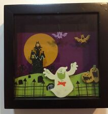 ☀️NWT HALLOWEEN Shadow Box Ghost Bats Pumpkin Cemetery Wall Hanging Decoration