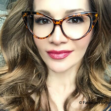 Sexy Thin Brown Cat Eye Pin up Nikita Fashion Designer Vampy Mod Glasses Frames