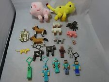 MINECRAFT  Large Lot FIGURES Toys MINI FIGURES Plush KEY CHAINS