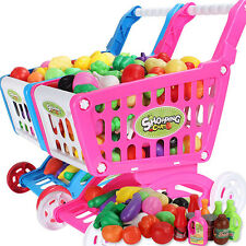 Kids Children Shopping Trolley Cart Role Play Set Toy Plastic Fruit Food Pink