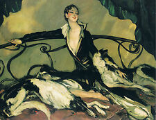 ART DECO LADY RELAXING WITH HER BORZOI DOGS. A 4 SIZE PHOTO PRINT.