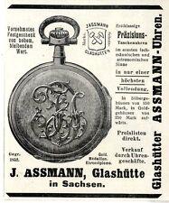 Präzisions-Taschenuhren J.Assmann Glashütte Wiener Annonce 1909