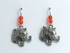 Pewter &  Sterling silver growling Tiger face dangle earrings-Tigers,big cat,