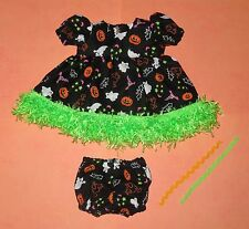 """Handmade Doll Clothes for 11"""" - 13"""" Baby Dolls - """"Trick or Treat"""" Dress Set"""