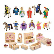 Wooden Princess Castle Accessory Set Furniture Castle Dolls, Royal Family Dolls