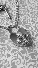 Valentines day BDSM Fleur De Lis Heart Padlock Necklace Permanent Day Collar Sub