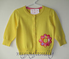 HANNA ANDERSSON Appliqué Art Cardigan Sweater Sunny Yellow 80 18-24 months NWT