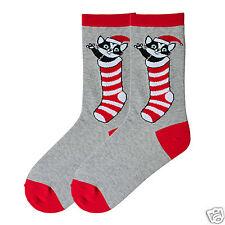 K.Bell  Christmas Santa Kitty Red White Stripe Sock Ladies Crew Grey Socks New