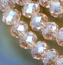 4x6mm Faceted Pink Czech Glass Crystal Rondelle Beads 98pcs