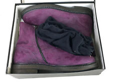 Unworn Men's Ann Demeulemeester Brushed Suede Purple Combat Boots 45 with Box