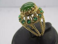 Vintage 14k Solid Yellow Gold Jade And Green Emerald Ring