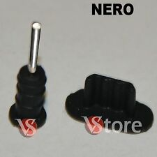 2 Stopper Per iPhone 5-5S-5C /iPod 5/iPad 4 e Mini iPad Anti Polvere NERO