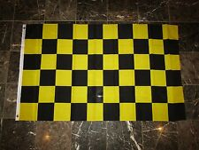 3x5 Advertising Checkered Checker Black Yellow Knitted Poly Flag 3'x5' Banner