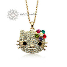Hello Kitty Cat/Animal Pendant Necklace/Swarovski Elements/Rose gold/RGN264G
