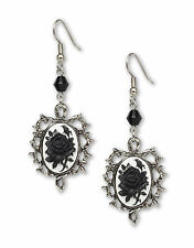 Gothic Black Rose Cameo Dangle Earrings with Black Bead #1011BW