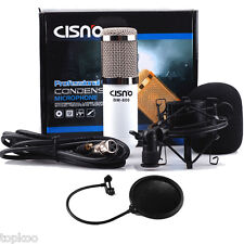 Condenser White Microphone Mic with Shock mount + Pop Filter for Studio