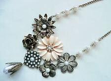 ZARA dichiarazione COLLANA-SPLENDIDO Colori & design_grey & white pearls-NUOVO