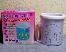 """Darice Kid's Craft """"I Love You"""" Design-A-Mug Kit with 6 Ready to Color Pictures"""