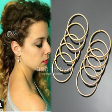 10x Gold Hoop Circle Dreadlock Dreads Updo Hair Pin Dress Snap Barrette Clip W8
