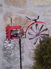 Windrad Traktor am Stab rot Dekoration Garten Buldog Terrasse Beetstecker Rad