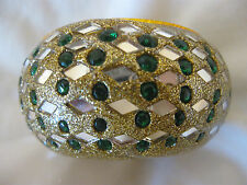 Gold Sparkly and Green w Mirrors Trinket Pin Dish   CL31-37