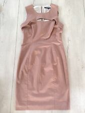 French Connection Uk12 Eur40 Dress Nude Pink Smart Office Pencil Slim  Lined