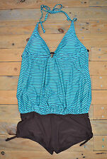 Green Brown Striped Softly Draping Halterneck Swimsuit Swimming Costume Size 10