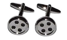 Silver Button Cufflinks With Gift Pouch Sewing Seamstress Tailor Buttons Present