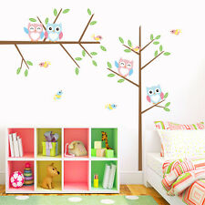 Colorful Owls Birds Tree Branch Wall Decal Removable PVC Sticker Kids Room Decor