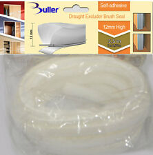 5.5m White Seal Brush pile Draught and Dust Excluder self adhesive 12mm for door