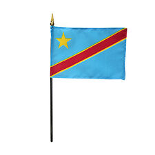 "DEM. REPUBLIC OF CONGO 4X6"" TABLE TOP FLAG W/ BASE NEW DESK TOP STICK FLAG"