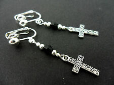 A PAIR OF  TIBETAN SILVER DANGLY CROSS  & BLACK CRYSTAL  CLIP ON EARRINGS. NEW.