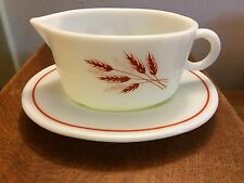 Pyrex AUTUMN HARVEST wheat VINTAGE gravy boat and underplate EUC