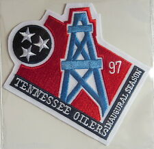 TENNESSEE OILERS INAUGURAL SEASON NFL PATCH STAT CARD Willabee & Ward WORN 1997