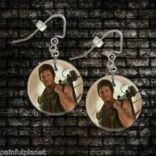 "**WALKING DEAD DARYL DIXON 2** 1"" Button Dangle Earrings *FREE PIN* ~USA Seller"