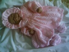 "KNITTING PATTERN COAT BONNET BOOTEES BABY 0-3 MTHS REBORN DOLL 19-21"" No 17"