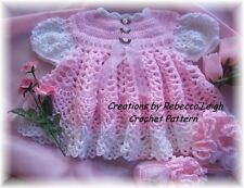 "CROCHET PATTERN for ""PINK ROSE"" Baby Dress/Booties by REBECCA LEIGH---3/6M & 12M"