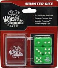 Monster Protectors Colored Dice 6x  D6 Logo Die W/  Carrying Case (Green)  MTG