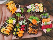Dollhouse Miniature 6 Boats of Japanese Food Sushi Sashimi Tempura Takoyaki Deco