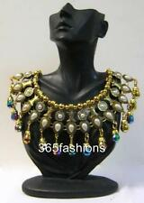 STATEMENT BEADED ANTIQUED GYPSY STYLE FAUX PEARL RHINESTONE NECKLACE GOLD MULTI