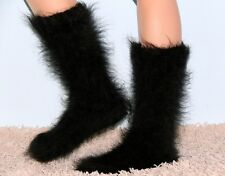 SUPERTANYA Hand knitted mohair wool socks warm Fluffy handmade BLACK leg warmers