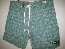 ($80) NWT DEUS EX MACHINA BOARD SHORTS SIZE 36 DRAKE PAISLEY SURF TRUNKS GREEN