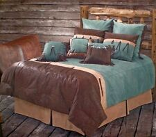 San Juan - Rustic Western 5 Pc Super King Comforter Bedding Set-Turquoise/Brown