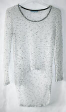 NWT ALICE + OLIVIA sheer airy open knit hi low asymmetrical slouchy sweater,XS