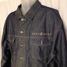 ROCAWEAR Mens URBAN HIP HOP Stylish Denim Blue Button Jean Jacket Size L Large