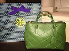TORY BURCH ROBINSON STITCHED DOUBLE ZIP TOTE BOTTLE GREEN NWT $595 +GIFTBAG MINT